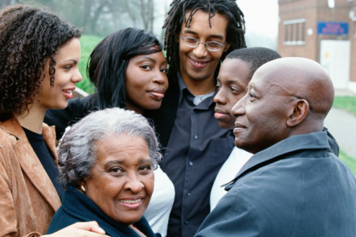 Happy black family together